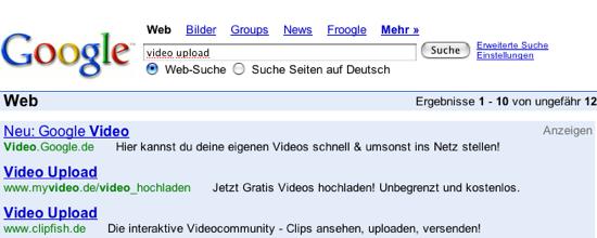 Werbung von MyVideo und Clipfish