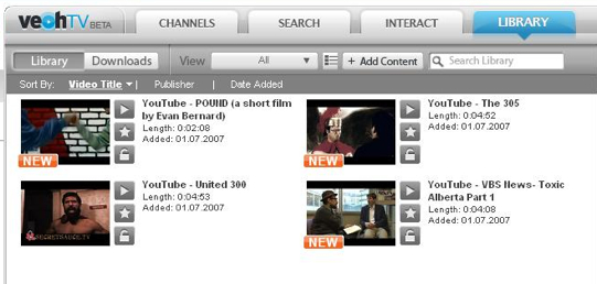 Videoverwaltung Veoh TV